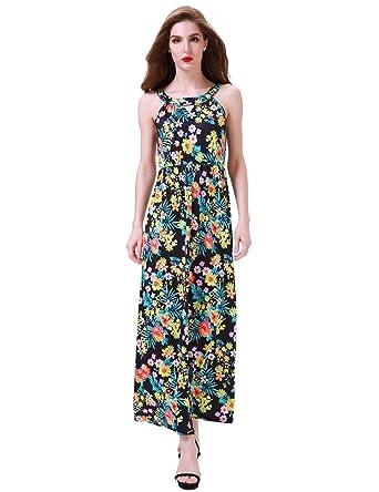 2bbbb178901 Aphratti Women s Sleeveless Bohemian Halter Long Beach Maxi Dress Small  Black Floral