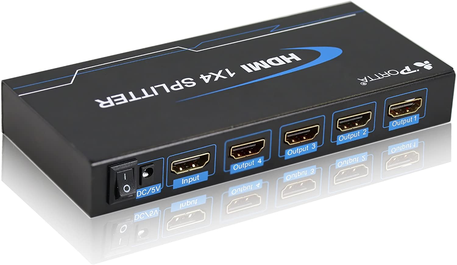 Portta 1x4 4 Ports HDMI Powered Splitter Ver 1.3 Certified for Full HD 1080P and 3D Support One Input to Four Outputs Deep Color Audio Real HDMI