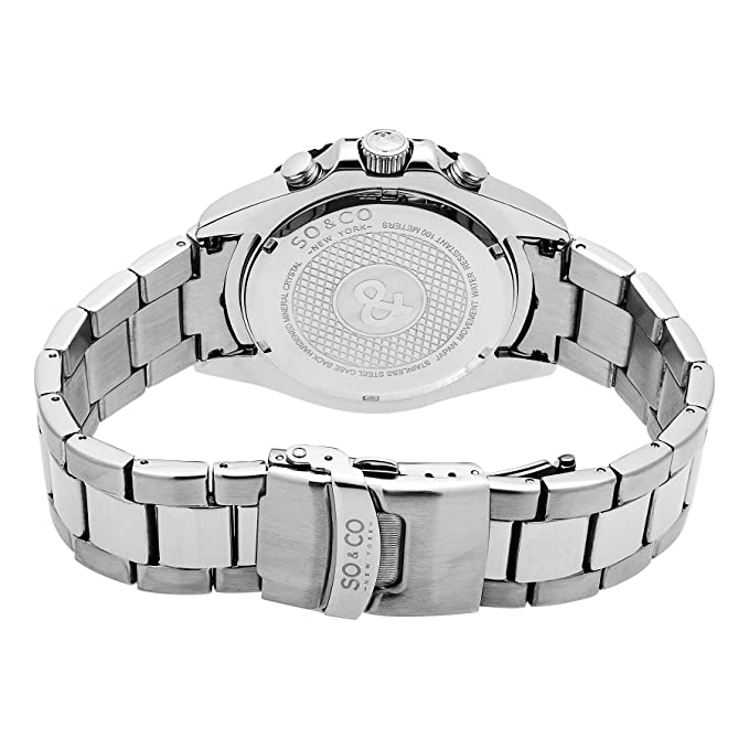 Amazon.com: SO&CO New York Mens 5015.3 Yacht Club Stainless Steel Chronograph Date Stainless Steel Link Bracelet Watch: Watches