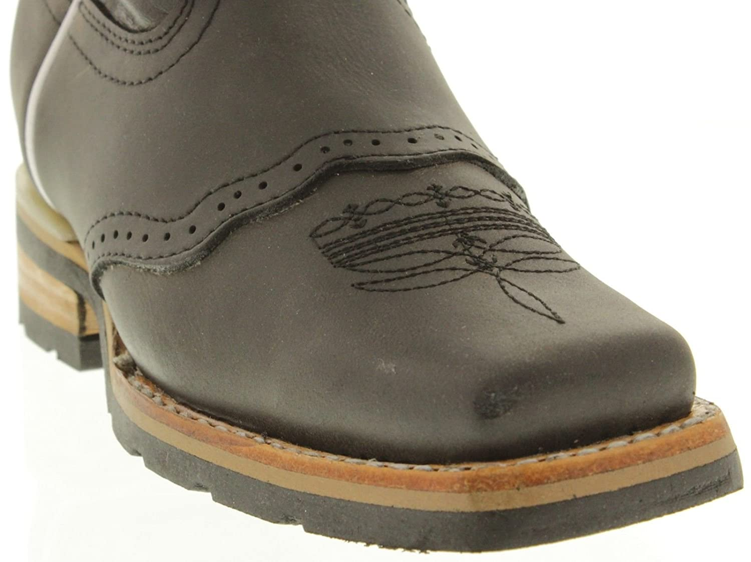 Kids Toddler Black Work Style Leather Cowboy Boots Square Toe Veretta Boots