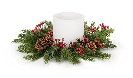 Christmas Candle Rings.Amazon Com Diva At Home Set Of 4 Green Pine Berry
