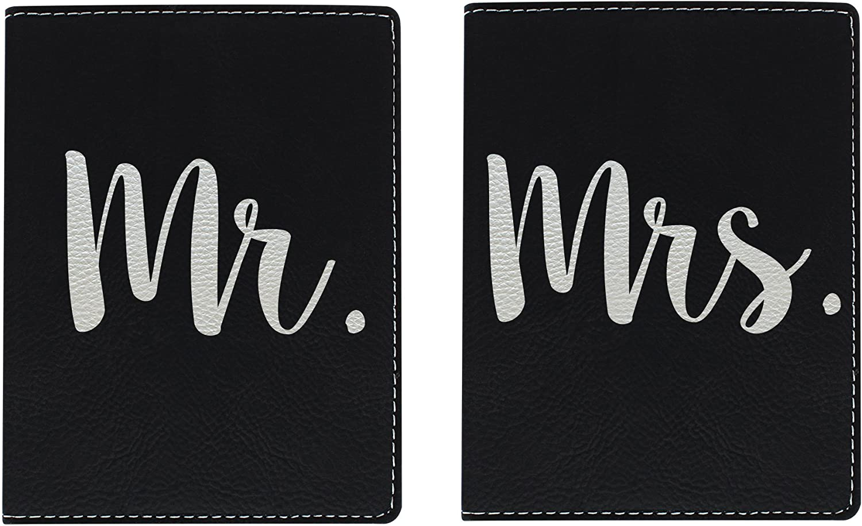 Honeymoon Travel Gifts Mr & Mrs Newlywed Passport Holder Travel Honeymoon Gifts for Bride and Groom Travel Gifts Laser Engraved Leatherette Passport Holder Black