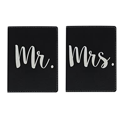Honeymoon Passport Holder Mr & Mrs Laser Engraved Leather Passport Holder