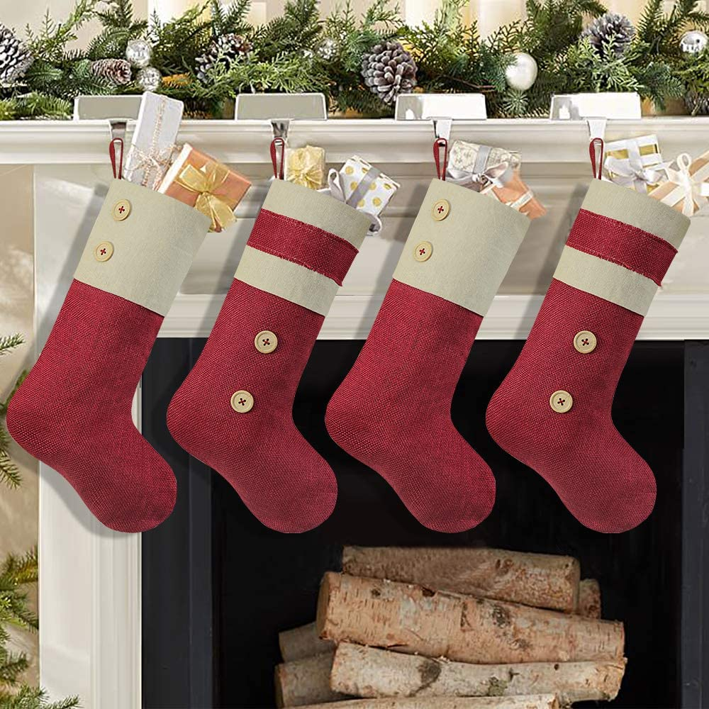Ivenf Christmas Stockings, 4 Pcs 18 inches Burgundy Burlap Stockings with Cream Cotton Decor, Fireplace Hanging Stockings for Xmas Party Decorations Home Décor