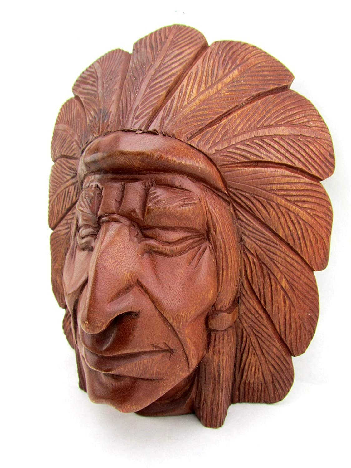 Blue Orchid Hand Carved Wooden Indian Head Cherokee
