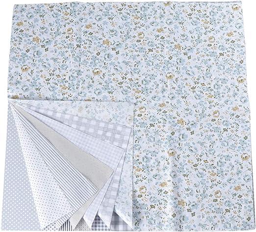 EXCEART 7 hojas de tela de algodón floral cuadrados de tela floral ...