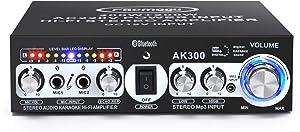 Facmogu AK300 200W+200W Audio Power Amplifier, 2 Mic Input Bluetooth 5.0 Hi-Fi Stereo Karaoke Digital Audio Receiver for Home Theater Speakers, 110V US Plug Built-in Power Adapter