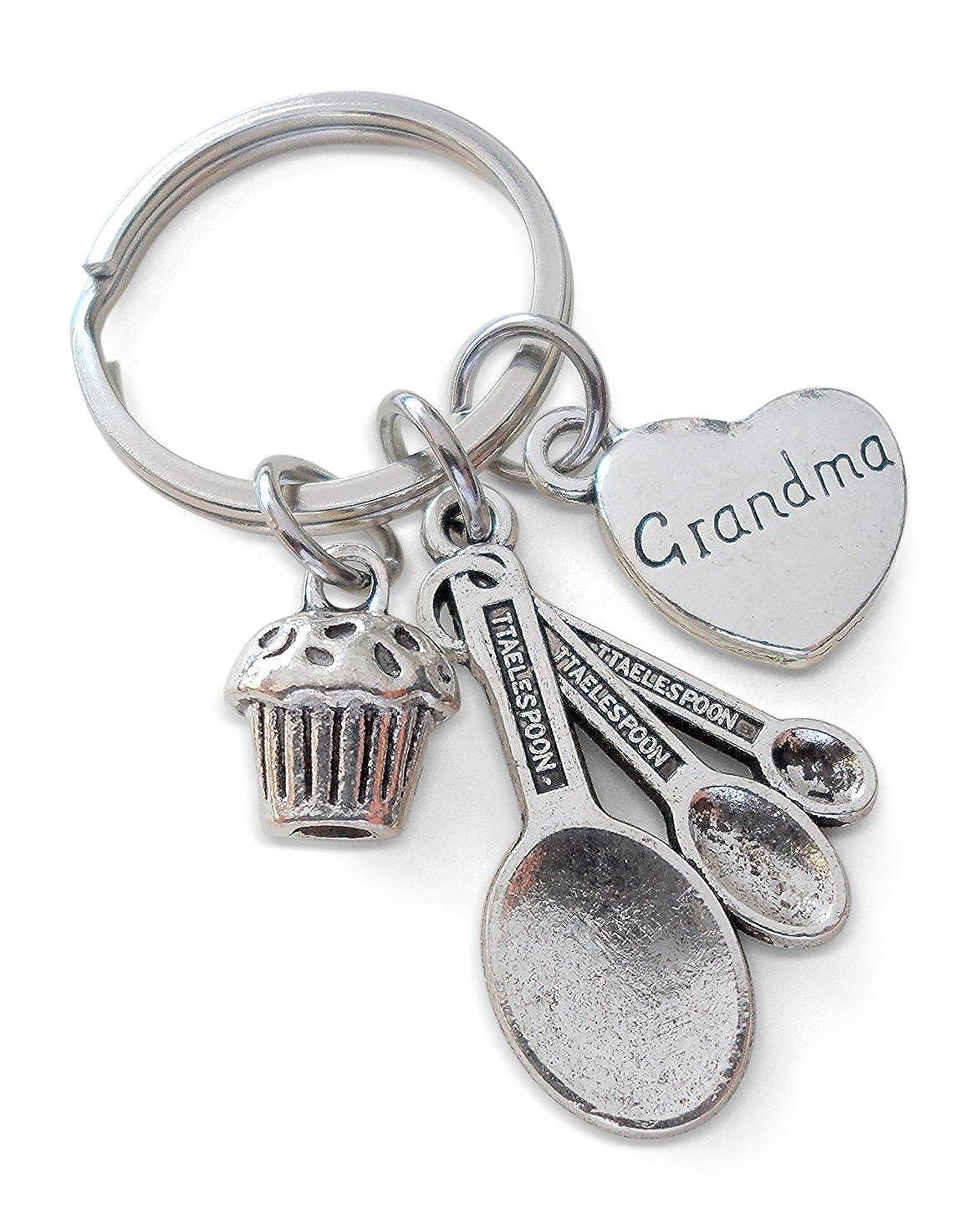 Grandma's Baking Keychain, Measuring Spoon Cupcake Keychain,You Make Life Sweet Grandma's Baking Keychain 32914000556