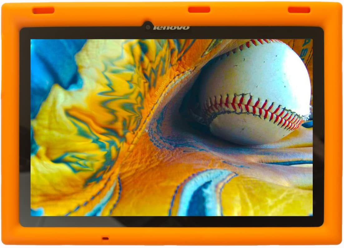 Bobj Rugged Case for Lenovo Tab 2 A10-70, A10-70F and Lenovo Tab 3 TB3-X70L, TB3-X70F– BobjGear Custom Fit - Patented Venting - Sound Amplification, Kid Friendly (Outrageous Orange) Not for TB-X103F
