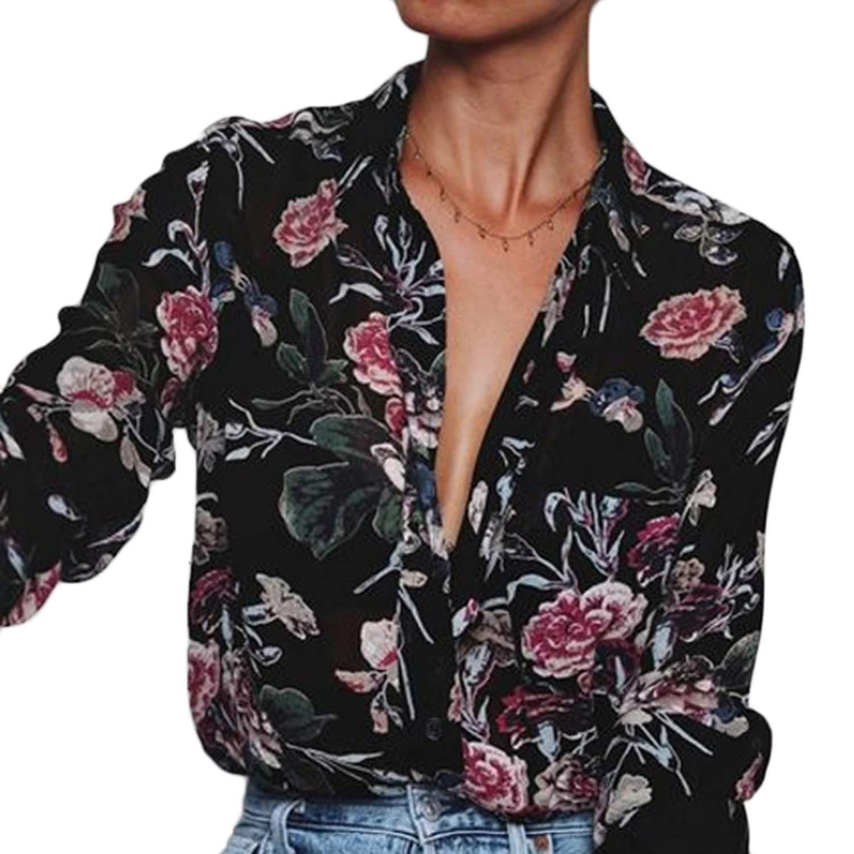 T T Store Blusa de Gasa para Mujer, con Estampado Floral, Color ...