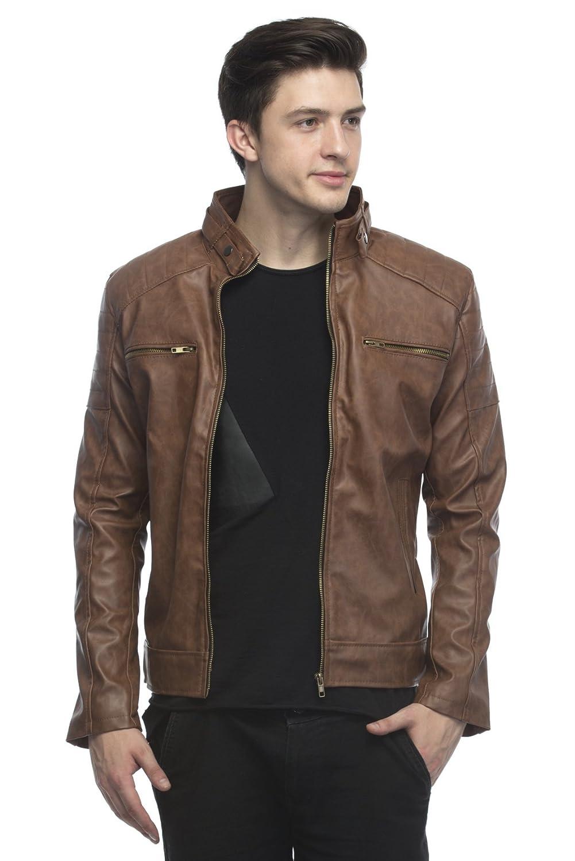 87f5a34c6 Lambency Men's PU Biker Jacket