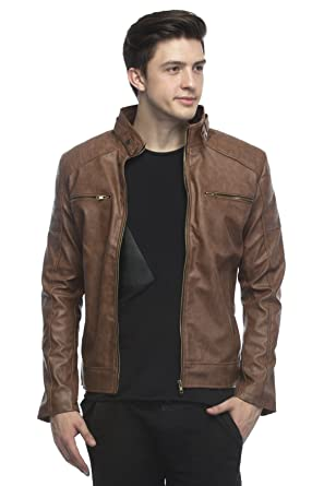 4d3c6c7dcae Lambency Men s PU Biker Jacket  Amazon.in  Clothing   Accessories