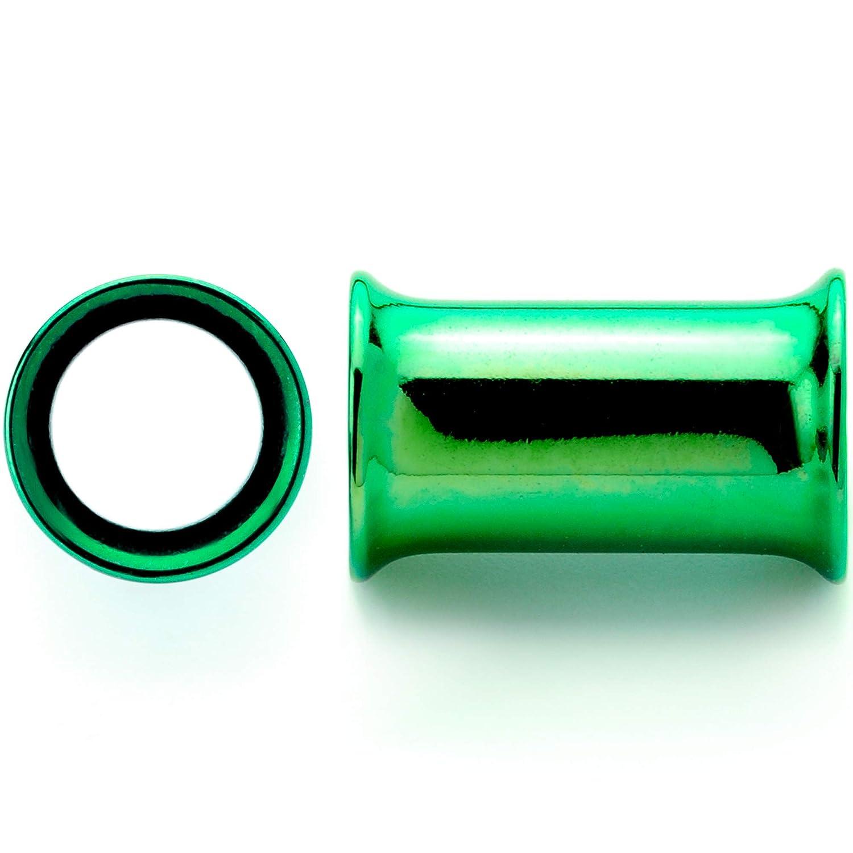 Body Candy 2Pc Green Anodized Steel Double Flare Flesh Tunnel Plug Ear Gauge Plugs Set of 2