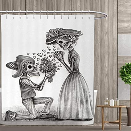 Anniutwo Day Of The Dead Shower Curtains Sets Bathroom Mariage Proposal Till Life Do Us Apart