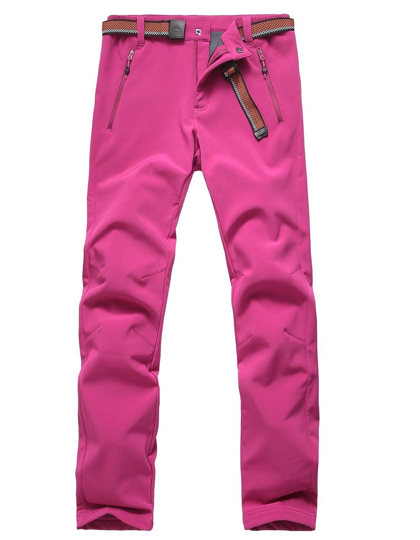 Tofernレディース/レディース冬ソフトシェルパンツ厚手フリース- 22 °F防水傷付きアウトドア登山ハイキングTrouser B077KYMWDH US Size M (Lable XL)|ローズレッド ローズレッド US Size M (Lable XL)