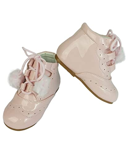 36c68ba50a782 Spanish Style Baby Girls Patent Non Slip Pom Pom Wedding Boots ...