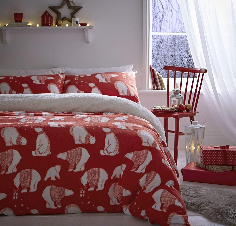 Catherine Lansfield Polar Bear Fleece Double Duvet Set Red