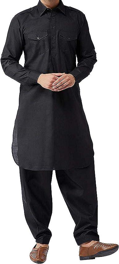 Black Kurta Pajama Indian Ethnic Wear Traditional Men/'s Designer Casual Tunic