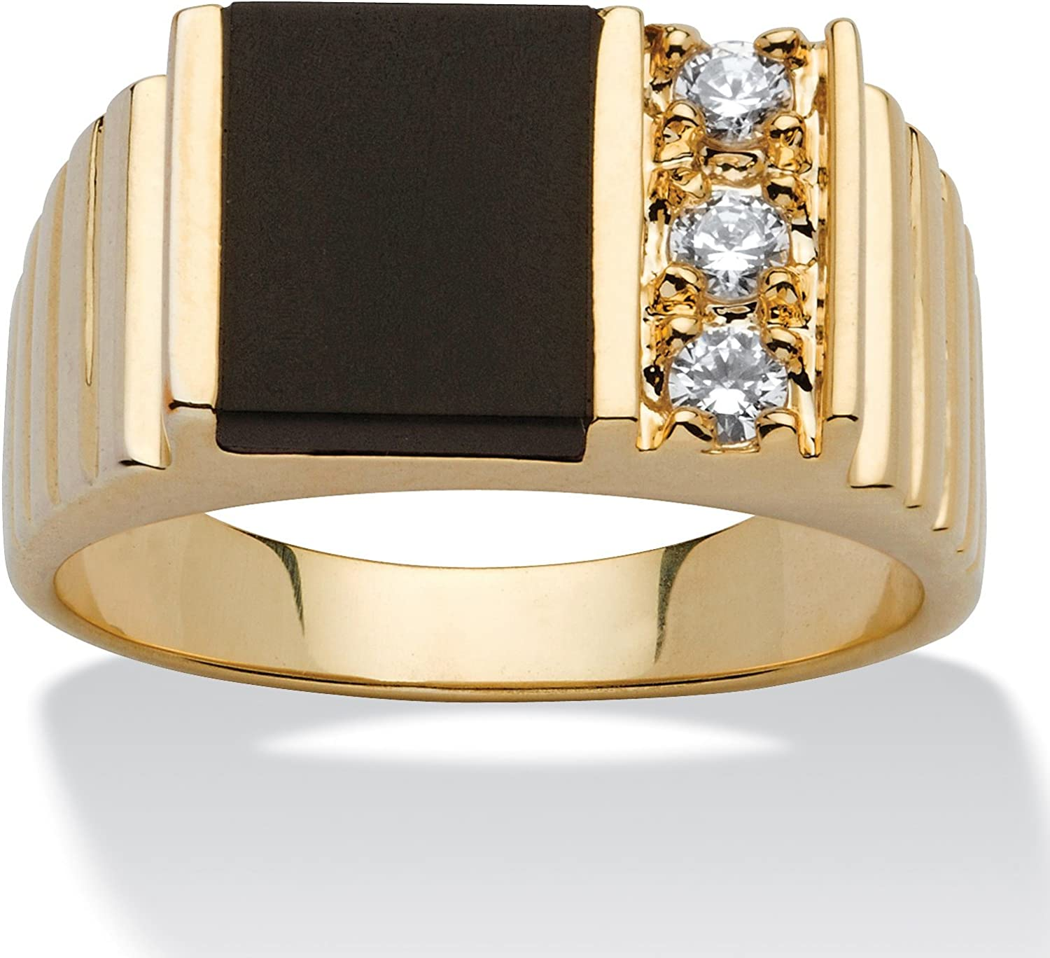 Palm Beach Jewelry Men's 14K Yellow Gold Plated Rectangular Shaped Natural Black Onyx and Round Cubic Zirconia Ring