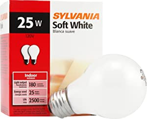 SYLVANIA 293687 Sylvania Home Lighting 10562 Incandescent Bulb, A19-25W-2850K, Soft White Finish, Medium Base, Pack of 2
