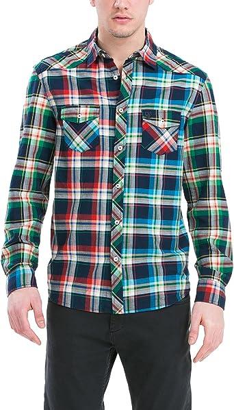 Desigual CAM_Check-Mate Camisa, Azul (Marino), M para Hombre ...