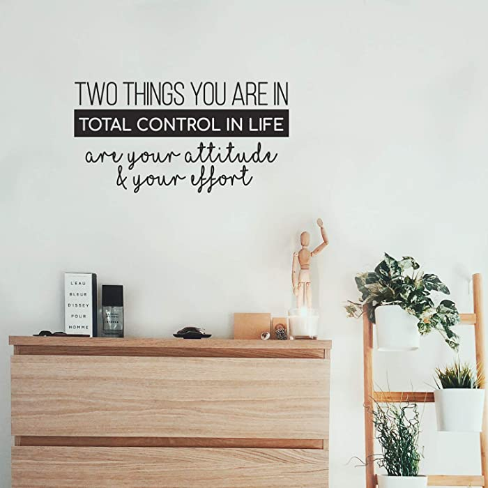 "Vinyl Wall Art Decal - Two Things You are in Total Control in Life Attitude Effort - 13"" x 25"" - Modern Motivational Quote for Home Bedroom Living Room Office Workplace School Decor Sticker (Black)"