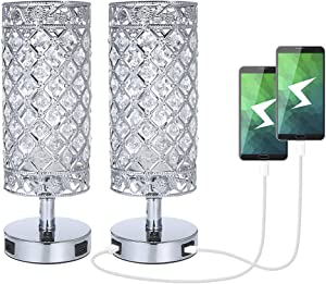 USB Crystal Table Lamp,Tomshine Set of 2 Bedside Lamp with USB Charging Ports, Modern Elegant Nightstand Lamp Desk Lamps,Silver Crystal Lamps for Bedroom Living Room Home Office