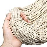 GEMITTO Macrame Cord 5mm 98YD 8-Strands Natural Macrame Cotton Rope, Soft Cotton Cord Craft Knitting Braiding Thread…