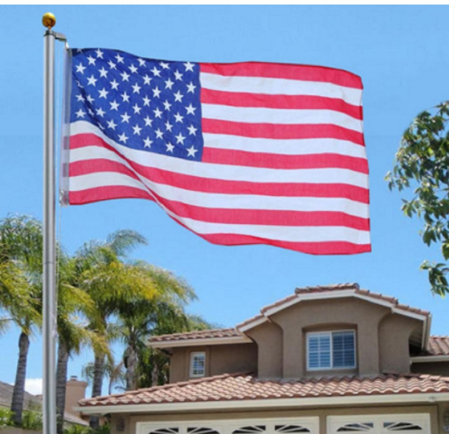 USA Premium Store 25Ft Aluminum Sectional Flagpole Kit Outdoor Halyard Pole + 1PC US American Flag by USA Premium Store
