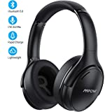 Mpow H19 IPO Noise Cancelling Headphones,Bluetooth 5.0 Headphones with Fast Charge,35H Playtime, Hi-Res Audio, Deep Bass,Memory Foam Ear Cups Headsets with CVC8.0 Micfor Travel, Work