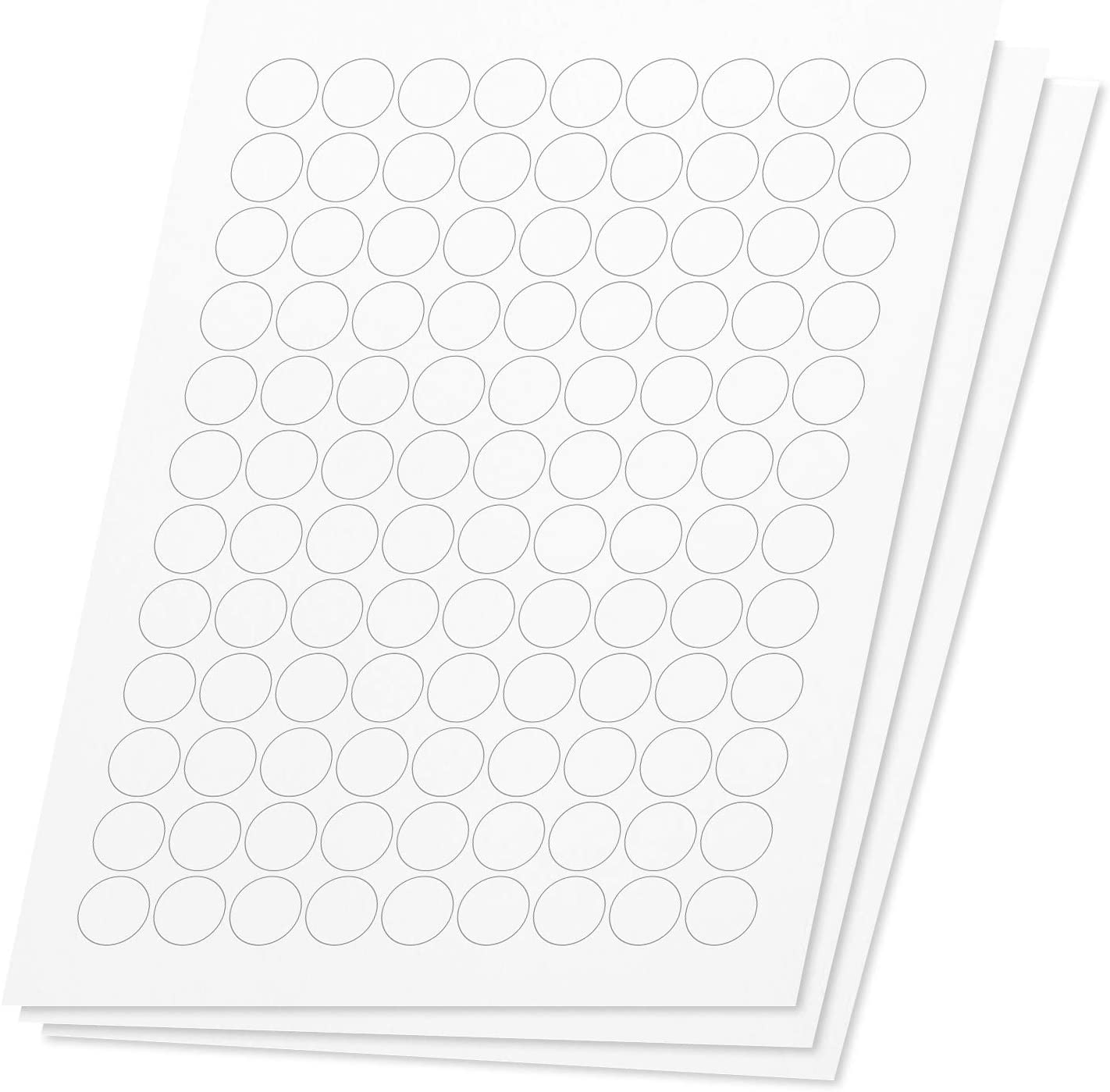 OfficeSmartLabels Round Circle Dot 3/4 inch Diameter Stickers Labels for Laser & Inkjet Printers, 0.75 Inch, 108 per Sheet, White, 1080 Labels, 10 Sheets