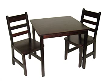 Amazon.com: Lipper International 514E Childu0027s Square Table And 2 Chairs,  Espresso Finish: Kitchen U0026 Dining