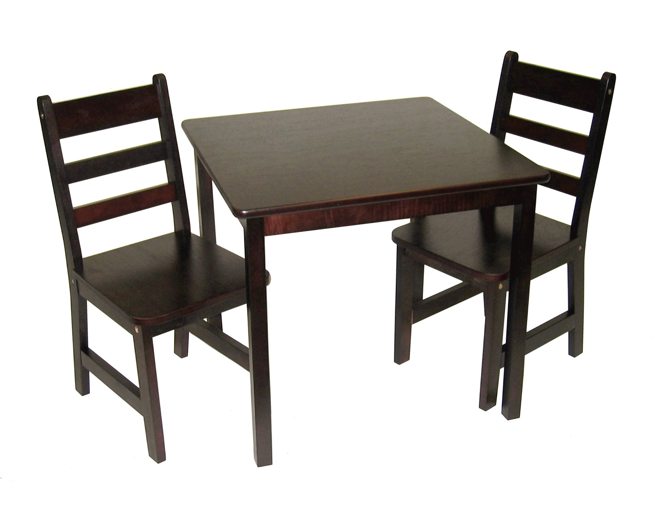 Lipper International 514E Child's Square Table and 2 Chairs, Espresso Finish