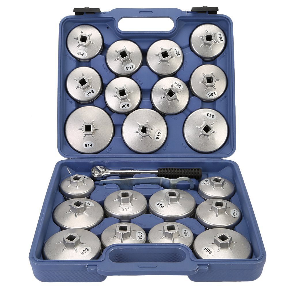 TKOOFN 23pcs Aluminum Alloy Cup Type Oil Filter Cap Wrench Socket Removal Tool Set 1/2''dr. with a Storage Case