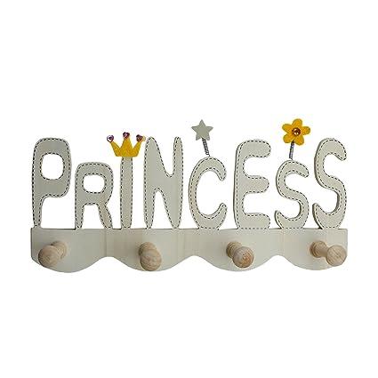 Appendiabiti Da Muro Per Bambini.Appendiabiti Per Bambini Princess In Legno Gancio Con 4 Ganci In