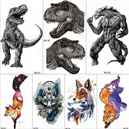 KAMRL Tatuaje Falso Tatuaje Dinosaurio Monstruo Feroz Tatuajes ...