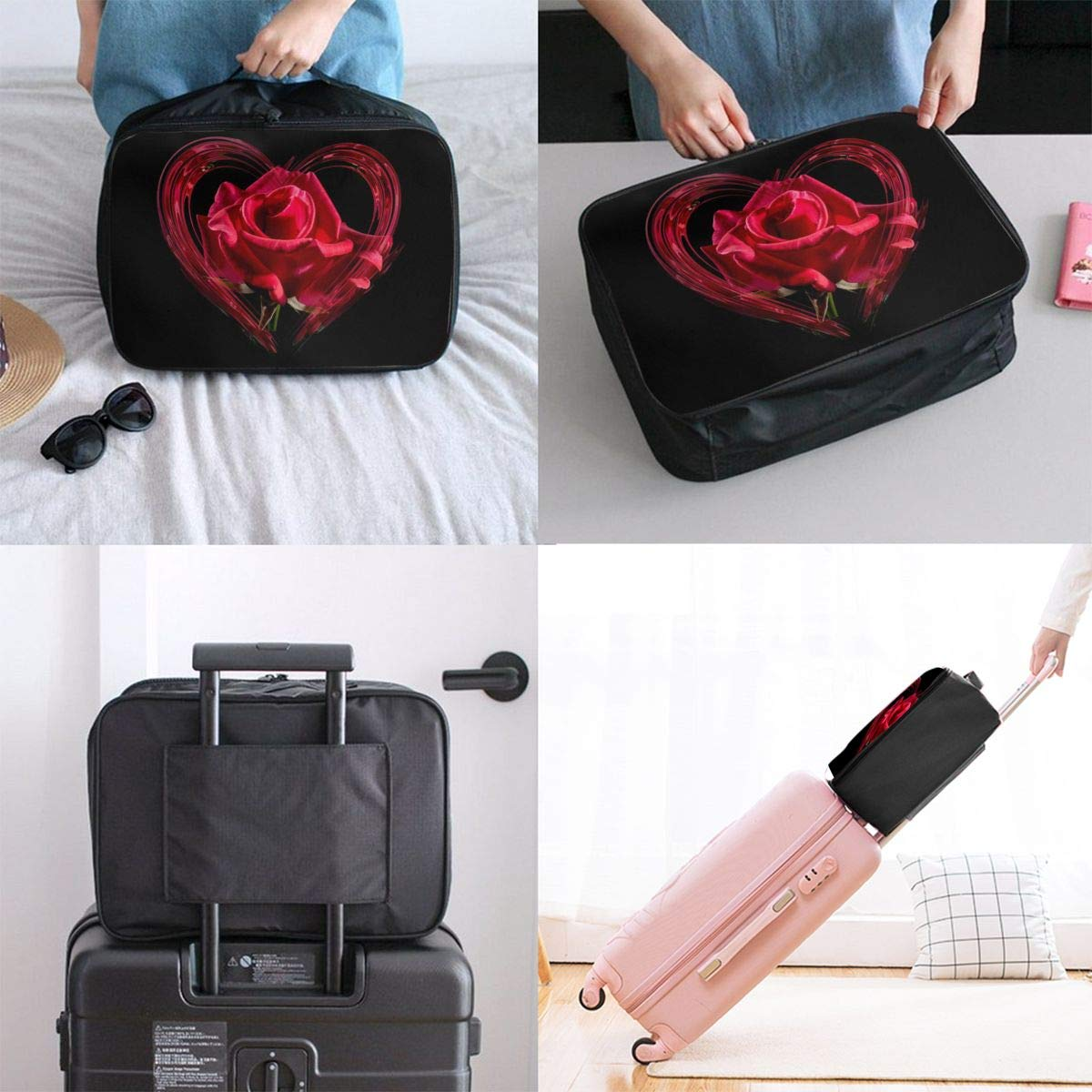Heart Love Romance Rose Travel Lightweight Waterproof Foldable Storage Carry Luggage Large Capacity Portable Luggage Bag Duffel Bag