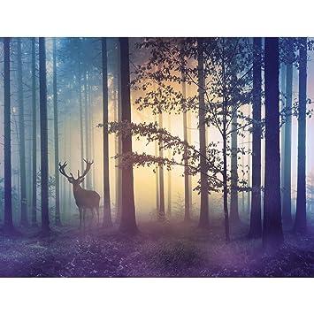 Fototapeten Wald Hirsch 352 x 250 cm - Vlies Wand Tapete Wohnzimmer ...