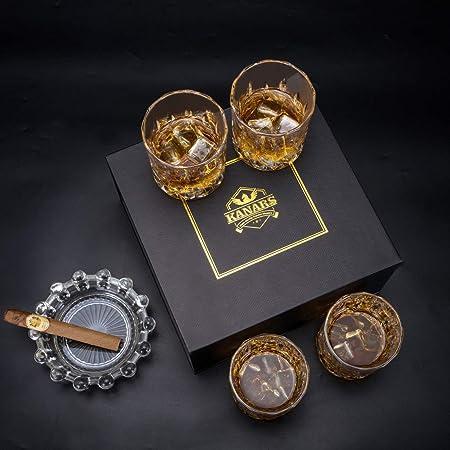 KANARS WG02 Juego de 4 Vasos de Whisky, Vaso de Whisky Robusto Cristalino 100% Sin Plomo para Escocés, Borbón y Más, 300ml, Caja de Regalo
