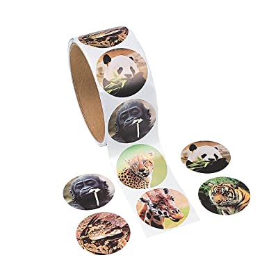 Fun Express Zoo Animal Stickers (1 Roll): Toys & Games