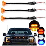 Boigoo Grill Lights for Ford Raptor F150 F250 F350 Truck Front Grilles 2004-2021, Amber LED with Amber Lens - 3 Unit…