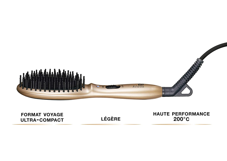 Saint Algue 3913 Straightening brush Caliente Negro, Oro 1.5m Utensilio de peinado - Moldeador de pelo (Cepillo alisador, Caliente, 200 °C, Negro, Oro, ...
