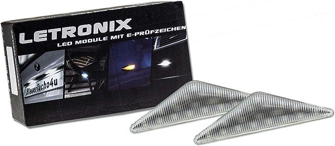 Letronix Led Seitenblinker Blinker Module Klar Silber Geeignet Für Mondeo Typ B4y B5y Bwy 2000 2007 Und Focus Mk1 1998 2004 Mit E Prüfzeichen Auto