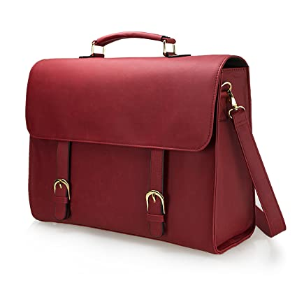 Estarer Women Red Laptop Briefcase 15.6 inch Satchel Messenger Bag ... b98addfe28f78