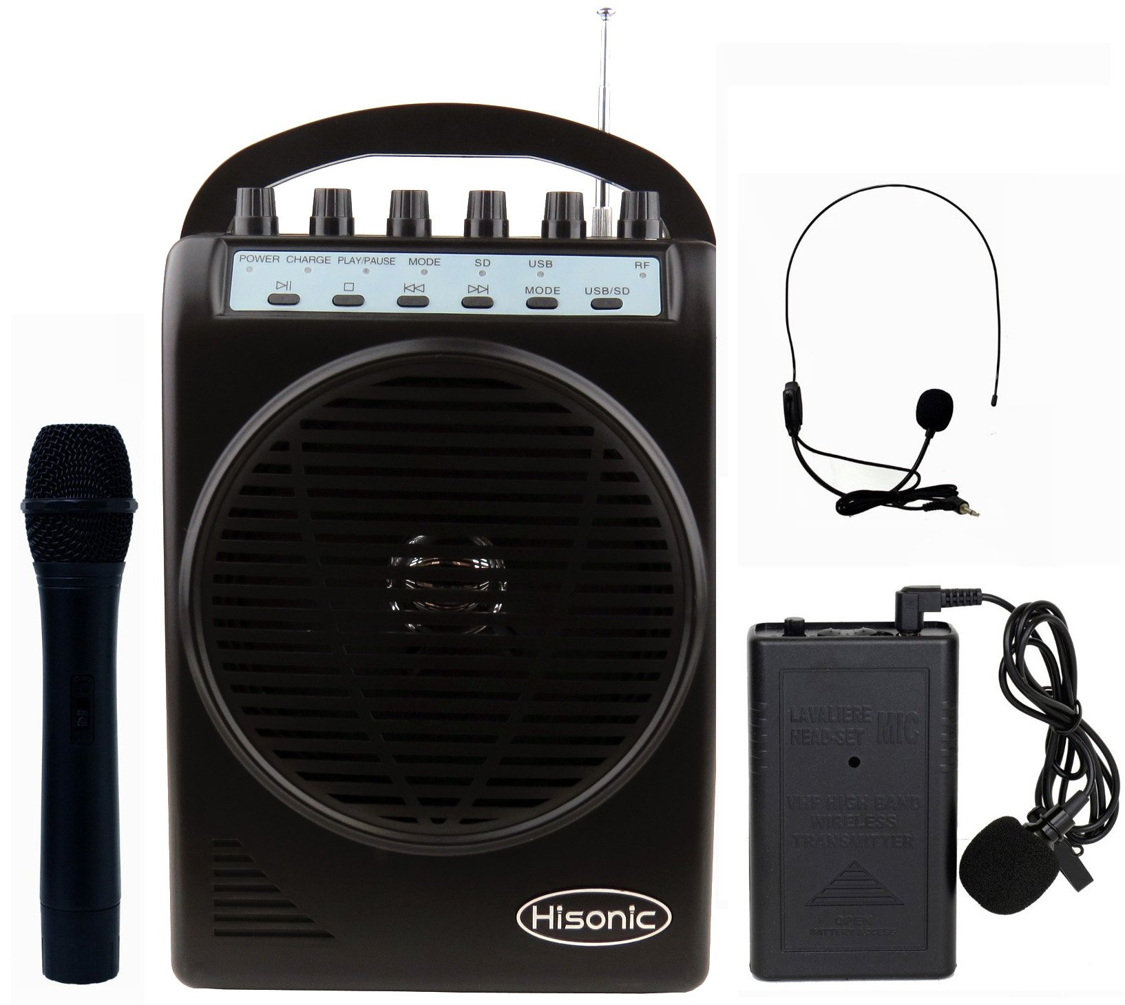 Hisonic HS128MP3 Lithium Rechargeable Battery Wireless Portable PA System with USB & SD Port MP3 Player with Car Cigarette Lighter Cable (HS120B+MP3 Player Black) by Hisonic