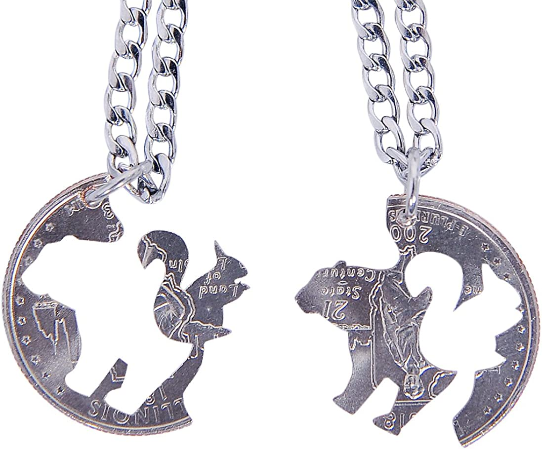 Marycrafts Hand Cut Coin Bear Squirrel Necklace Best Friend Friendship Necklaces For 2
