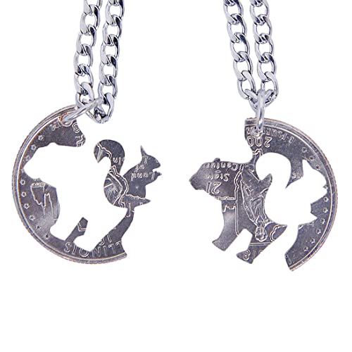 d30fd842c4 Marycrafts Hand Cut Coin Bear Squirrel Necklaces Set Relationship BFF Best  Friend Jewelry 14in   Amazon.com