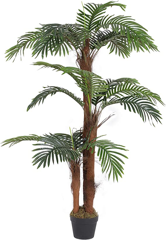 Songmics Artificial Palm Tree 55 Inch Tall Potted Paradise Palm Silk Tree Indoor Decorative Tree Fake Houseplants For Home Office Restaurant Green Ulat102gn Home Kitchen Amazon Com
