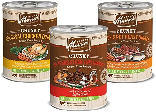 Merrick Chunky Canned Dog Food Variety Pack – 3 Flavors 12 Pack
