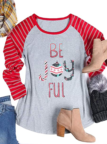 a3f0d6521a1158 ALLTB Plus Size Be Joyful Christmas Baseball T Shirt Women Long Sleeve  Striped Splicing Snowflake Printed Tops Blouse at Amazon Women s Clothing  store